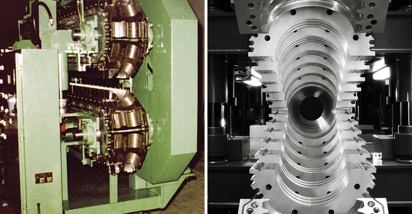 (LEFT IMAGE) Corma M600 — the world's first corrugator with vertical construction with independent mold block carriers produced in 1974. (RIGHT IMAGE) Mold block tunnel on Corma 30 and 40 Series Corrugator. Our drive sprocket system pushes the mold blocks and carriers evenly on all four corners to prevent titling and jamming of the machine.